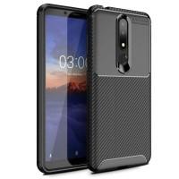 Nokia 3.1 Plus Autofocus Motif Carbon Leather Soft Case Cover Silikon