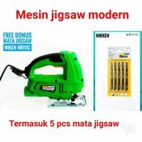 mesin jigsaw MODERN dan 5 pcs mata jigsaw mesin gergaji jig saw mode
