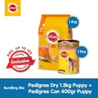 [Exclusive Bundling] Pedigree Dry 1.5kg + Pedigree Can 400gr Puppy