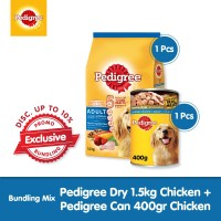 [Exclusive Bundling] Pedigree Dry 1.5kg + Pedigree Can 400gr Chicken