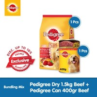 [Exclusive Bundling] Pedigree Dry 1.5kg + Pedigree Can 400gr Beef