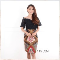 DRESS ATASAN BLOUSE BAJU BATIK WANITA MURAH / Jasmin combi kebaya span