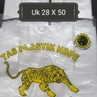 """Kresek-Kantong Plastik HDPE putih merk """"TIGER"""" 400 gram"""