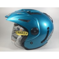 MURAH!!! HELM INK T1 T 1 SOLID ICE BLUE DOUBLE VISOR HALF FACE