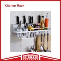 Rak Dinding Dapur Kitchen Rack Bumbu Gantung Aluminium Anti Karat