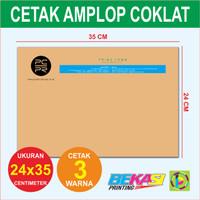 Amplop Folio Coklat - Cetak 3 Warna - Ukuran 24 x 35 cm