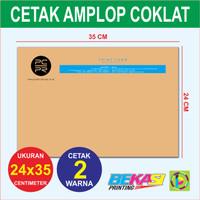 Amplop Folio Coklat - Cetak 2 Warna - Ukuran 24 x 35 cm
