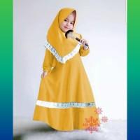 baju muslim anak 2-4thn set gamis syari mix renda + jilbab mustard