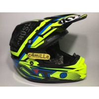 HELM KYT CROSS OVER SE STEP UP BLACK YELLOW FLUO CYAN BLUE TRAIL