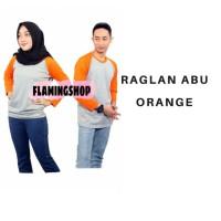 Raglan Lengan Panjang Abu Orange/Baju Kaos Raglan Polos/Reglan