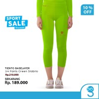 Tiento Baselayer Celana Ketat Legging Leging 3/4 Pants Green Stabilo