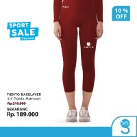 Tiento Celana Legging Wanita Leging 3/4 Pants Women Maroon Original