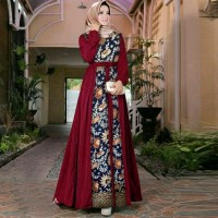 gamis batik safitri marun fashion wanita maxi dres baju muslim