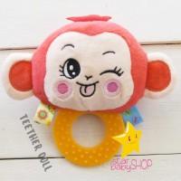 Rattle Teether Boneka Motorik Rattle Doll Happy Monkey