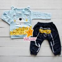 Setelan Anak Petite Bear Beruang Kuping Jeans Panjang
