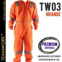 TW03 TeamWork Coverall Premium Baju Kerja Terusan Safety Jumbo Orange
