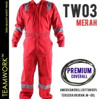 TW03 TeamWork Coverall Premium Wearpack Kerja Tebal Scotlight Merah