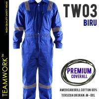 TW03 TeamWork Coverall Premium Jumpsuit Baju Terusan Safety Kerja Biru