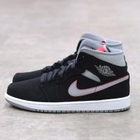Nike Air Jordan 1 Mid Black Grey Red 100% Authentic