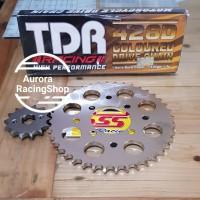 Gear Set SSS Satria 120 R / Hiu / Lumba & Rantai TDR 428 D Gold