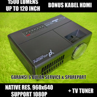 Yourday Proyektor Mini LED Projector Portable 1500 Lumens + TV Tuner