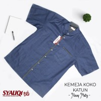 Kemeja Koko Katun Navy Motif (Size Kecil)