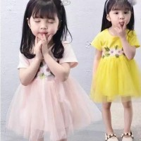 dress tutu bunga/dress casual anak/gaun anak/dress lengan pendek