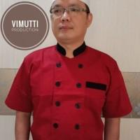 Baju chef seragam chef kombinasi lengan pendek