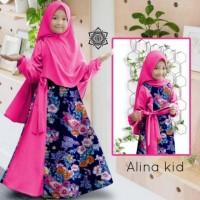 Syari Alina Kid/Gamis Balotely Kombinasi Bunga/Gamis Anak/Baju Muslim