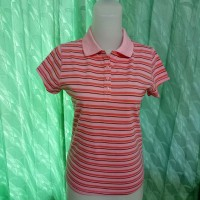 kaos preloved polo shirt stripes pink