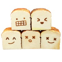 New Bread Squishy Toast 8CM Funny Expressions Jumbo Gift