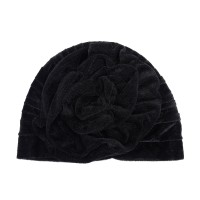 Women Ethnic Pleuche Flannel Big Flower Updo Headband Cap