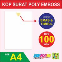 Cetak Kop Surat HVS 100 GSM + Poly Emas & Emboss / Timbul