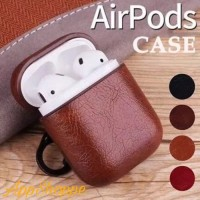 Airpods Leather Case PU Protective Shell Holder HARDCASE Hook