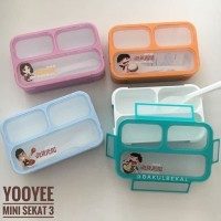 Lunch Box Yooyee Grid Leak Proof 3 Sekat Anti Tumpah/ Kotak Makan Anak