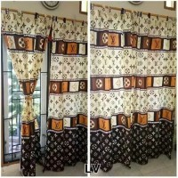 Hordeng LV Gorden LV 3D Tirai Louis vuitton Tirai Dekorasi Rumah