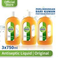 Dettol Antiseptic Liquid - Botol 750mL x 3 pcs - Cairan Antiseptik