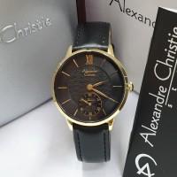 Jam Tangan Wanita Alexandre Christie 2682 AC2682 Gold Black Original
