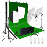 Paket Full Set Studio Foto Softbox lighting Lampu background umbrella