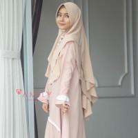 Khimar Hanna Jumbo BEIGE Amily Hijab Bahan Soft Georgette
