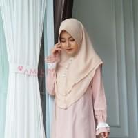 Khimar Hanna Standar BEIGE Amily Hijab Bahan Soft Georgette