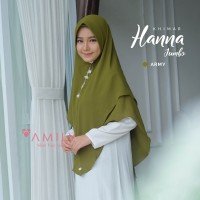 Khimar Hanna Jumbo ARMY Amily Hijab Bahan Soft Georgette