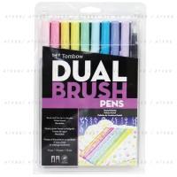 Tombow Dual Brush Pen Set 10 Colors - Pastel Palette