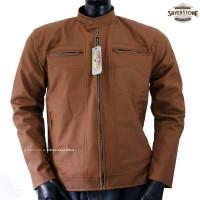 Fashion Baru Jaket Kulit Pria By Silverstone RFLA - Cokelat Muda Untuk