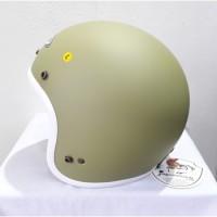 ZEUS Helm ZS385 RETRO MATT Olive Green White SOLID DOFF ZS 385