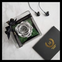 Barang Baru Maxime Le Mini Preserved Flower (Everlasting Rose) Silver
