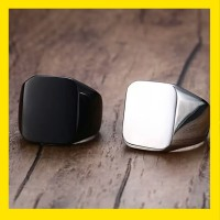 cincin pria kotak titanium stainless steel 316 L
