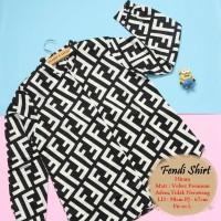 Atasan kemeja import | fendi shirt hitam | baju kuliah | baju kantor