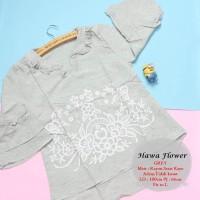 Atasan premium | hawa flower grey | baju wanita murah | baju kekinian
