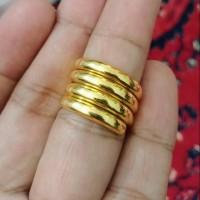 Cincin Belah Rotan Ulir Lapis Emas Kuning 24k
